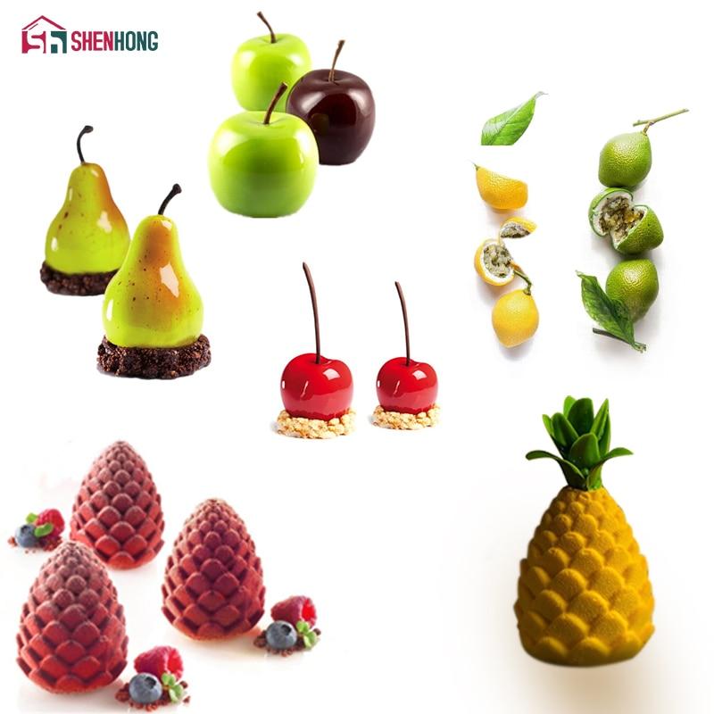 SHENHONG Obst Apfel Zitrone Birne Kirsche Mousse Silikon Backform 3D Backform Schokolade Dekoration Muffin Moule Cookie DIY