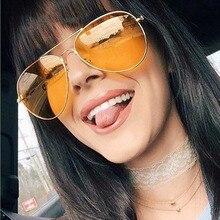 MIZHO Cheap Brown Lens Unisex Metal Yellow Sunglasses Women Pilot