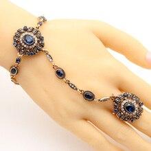 Vintage Turkish Adjust Bracelet Ring Jewelry Sets Women Antique Gold Color Resin Flower Bracelet Festival Party Bride Jewelry