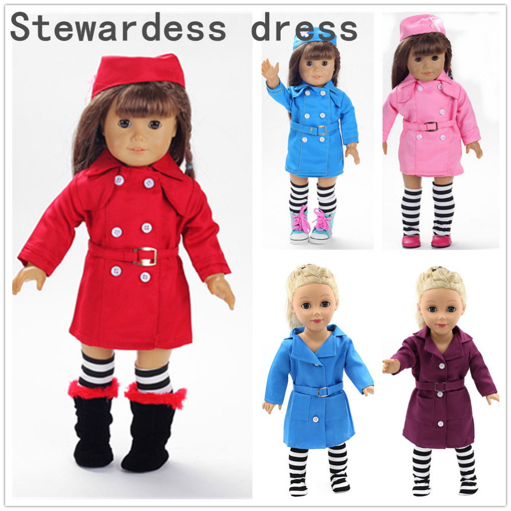 American Girl Dolls 18 Inch Doll Clothing 5 color Stewardess Business Attire Hat Doll Clothes Set of Doll Dress 9 colors american girl doll dress 18 inch doll clothes and accessories dresses