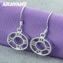 925 Jewelry Earrings Round Roman Silver Drop Earrings For Women Fashion Silver Plated Earrings Jewelry 925 silver plated crystal earrings pair