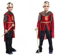 Fashion Children King Halloween Cosplay Costume Top Pants Cloak Crown Party Masquerade Clothing Boy Attack On