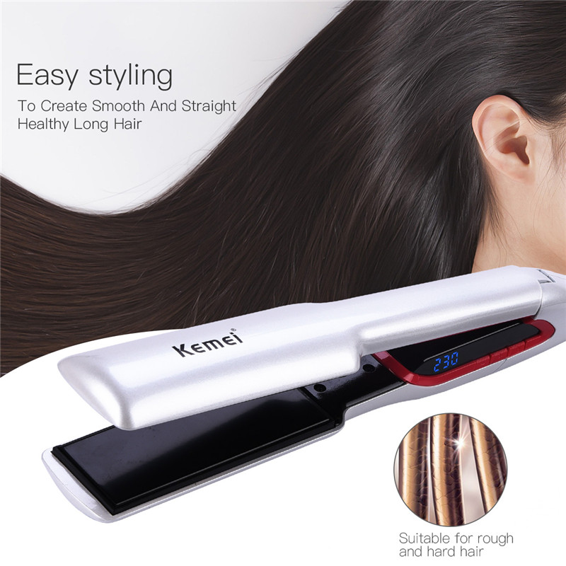 Adjustable Temperature Salon Flat Iron Wide Aluminum Plate Fast Heating Hair Straightener Smooth Hair with Digital LCD Display ushow infrared flat iron wide plates hair straightener mch fast heating dual voltage plates lcd display flat hair irons
