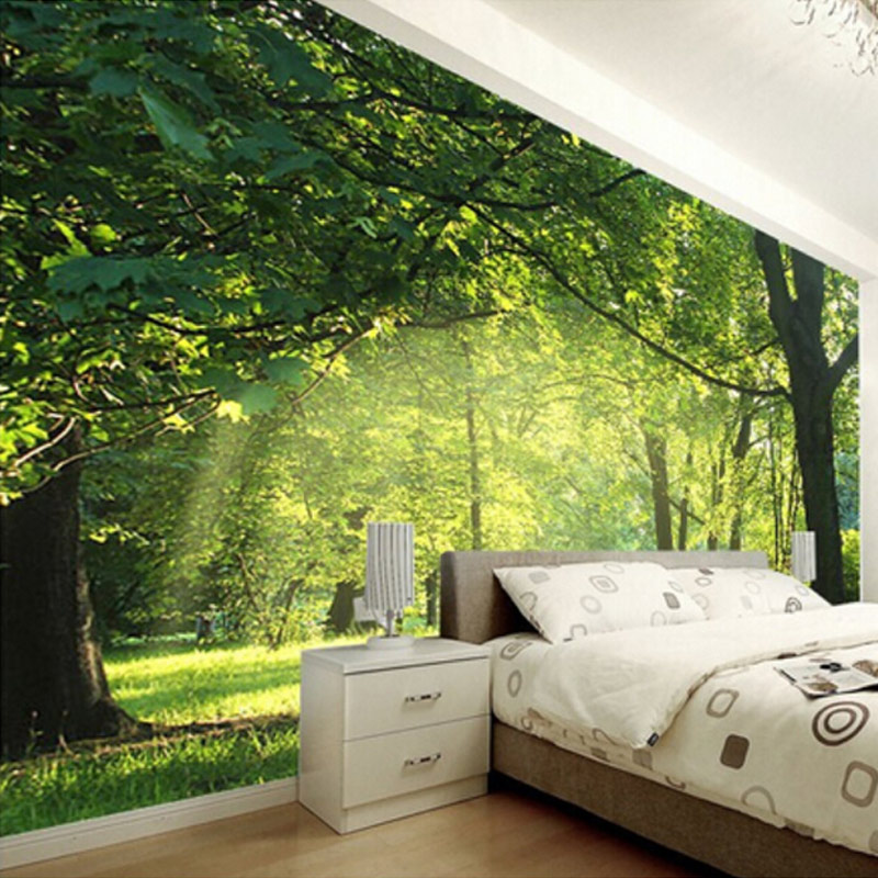 Customized any size 3d pastoral natural scenery living for Images of 3d wallpaper for bedroom