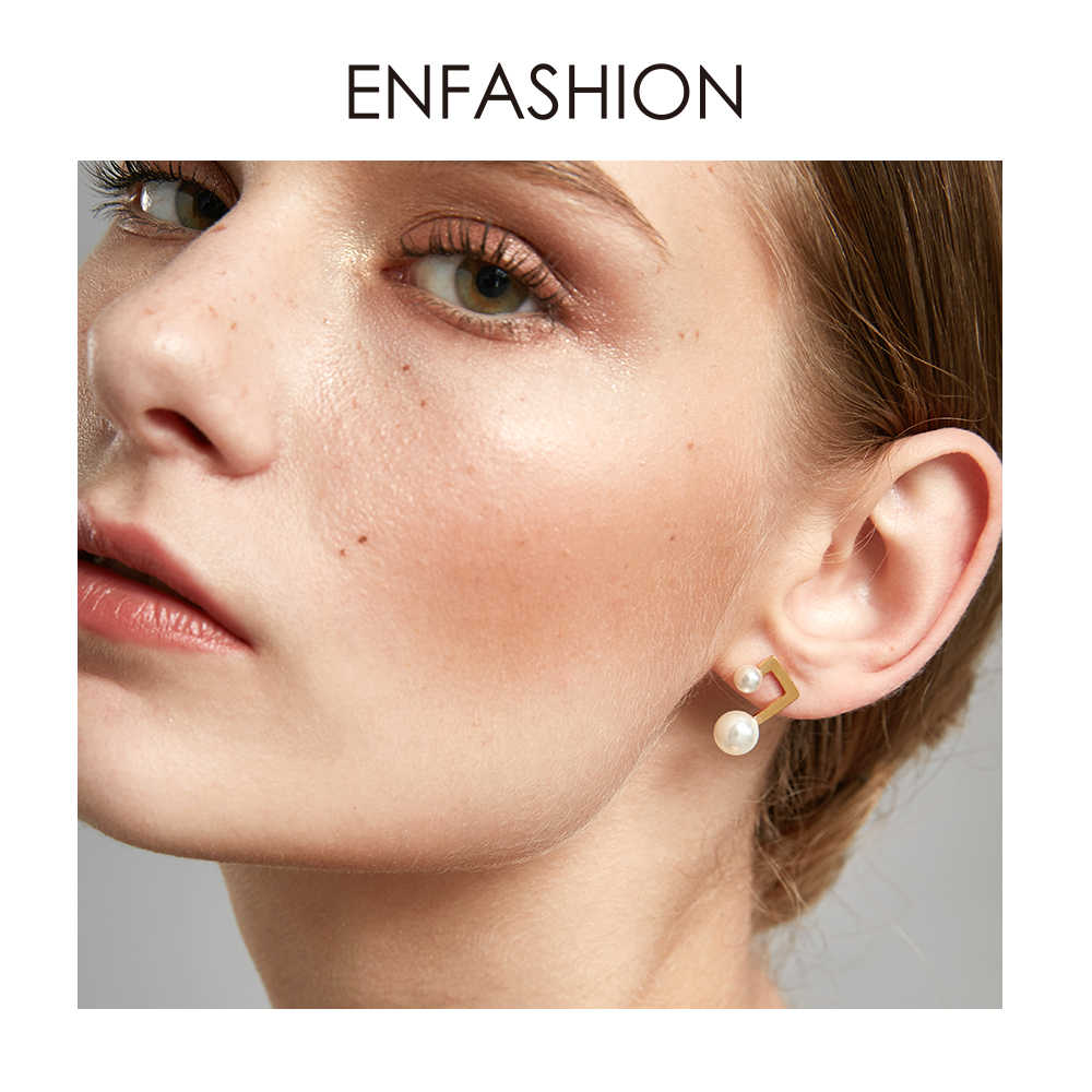Enfashion Couple Pearl Earring Gold Color Stainless Steel Stud Earrings for Women Wholesale Fashion Jewelry oorbellen E5462