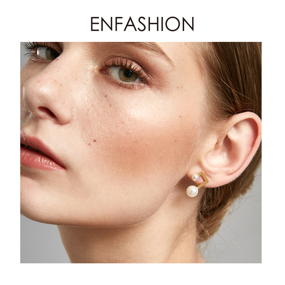Enfashion Couple Pearl Earring Gold Color Stainless Steel Stud Earrings for Women Wholesale Fashion Jewelry oorbellen E5462(China)