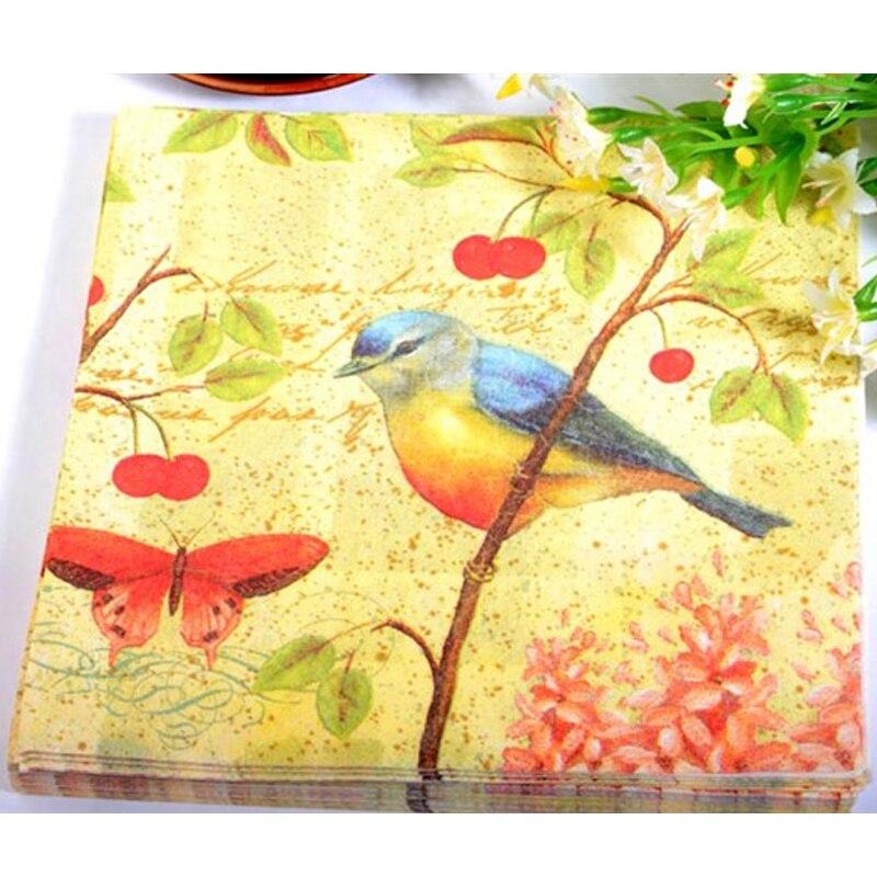 haochu 40pcs love bird paper napkin wedding decorative tissue dinner serviette towel tableware decoration cup mat - Decorative Paper Napkins