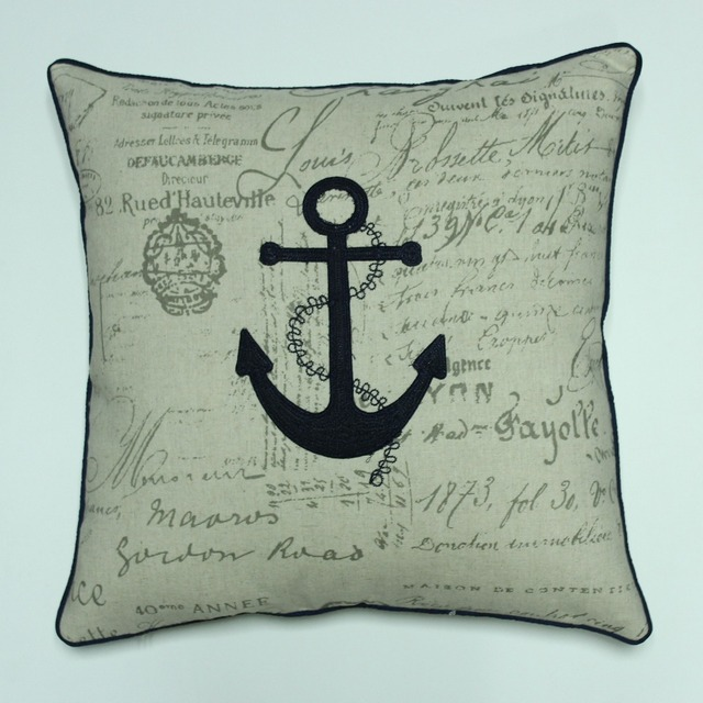 VEZO HOME Embroidered Anchor Printed Letters Linen Sofa