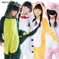 Animal Pajamas Children Kids Flannel Anime Cartoon Costumes Sleepwear Cosplay Onesie Unicorn Panda Stitch Giraffe Cow