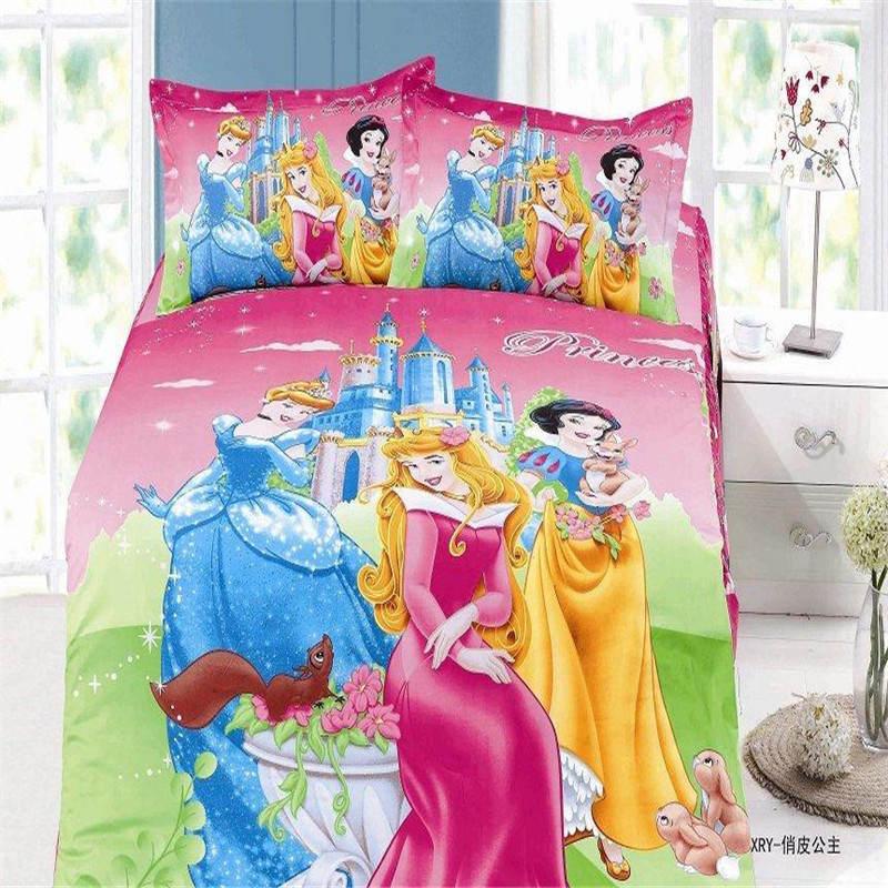 romantic 3d princess bedding set twin size bed sheets for kids bedroom decor girls quilt duvet cover 3 4 pcs 3d printed children