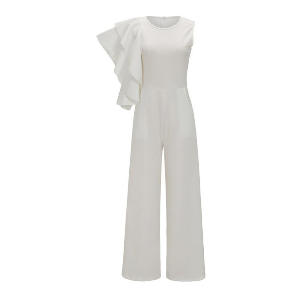131b4717c74e SAUCY ANGELIA Rompers Womens Jumpsuit Sexy White One Shoulder Ruffles Bodysuits  Party Overalls Stretchy Playsuits Plus Size XXXL-in Jumpsuits from Women s  ...