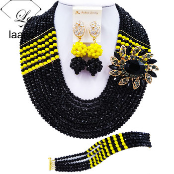 Laanc Latest Black and Yellow Opaque African Beads Jewelry Set for Women Nigerian Wedding Necklace C22P034