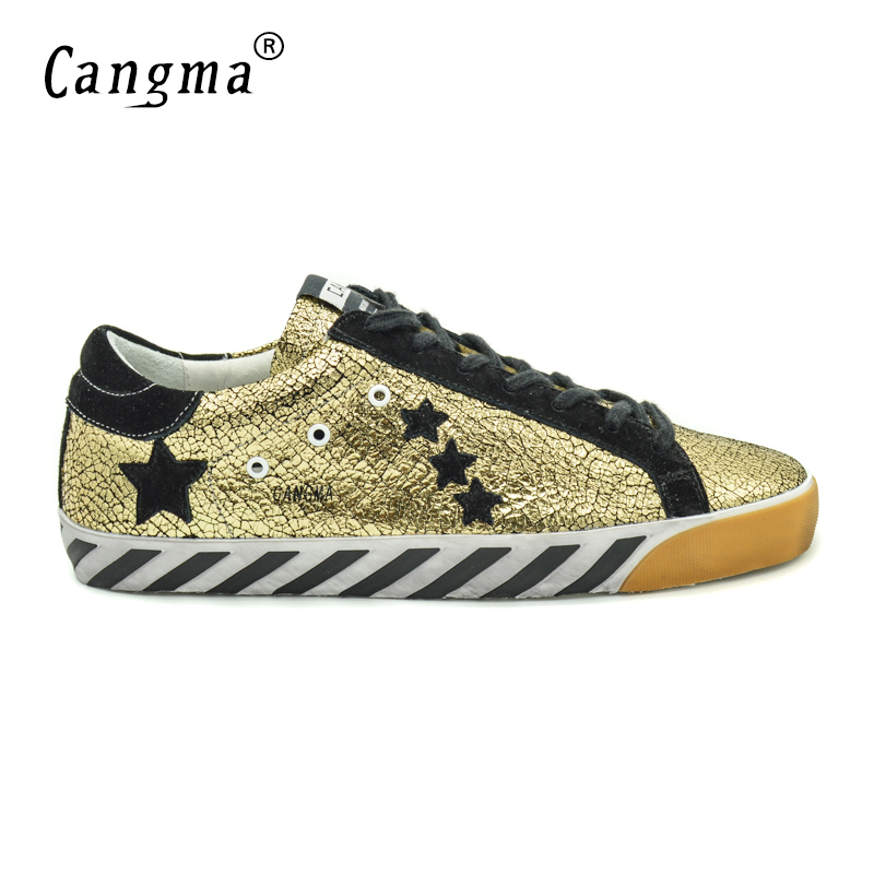 CANGMA Original Italy Deluxe Brand Francy Men Shoes Genuine Leather Superstar Male Casual Handmade Shoes Homme Schoen Heren 2017 cangma original italy deluxe brand men golden shoes women handmade silver genuine leather goose shoes scarpa stella sapato 2017