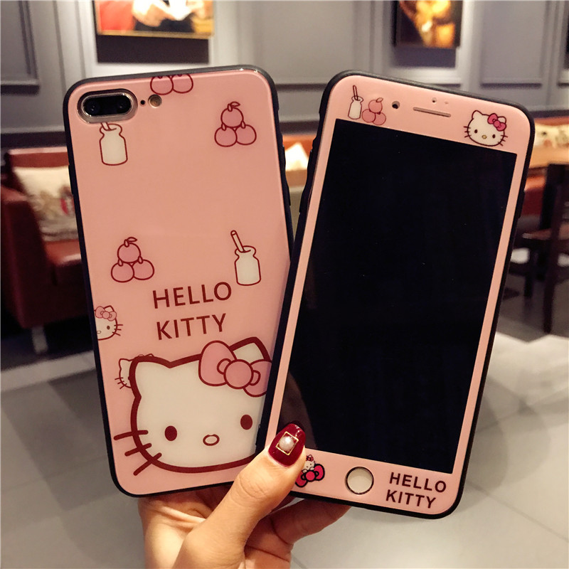 Ciao kitty vetro posteriore case For iphone 8 plus/7 plus cute cartoon copertura + Vetro Temperato per Apple iPhone X/6 6 s Schermo a colori