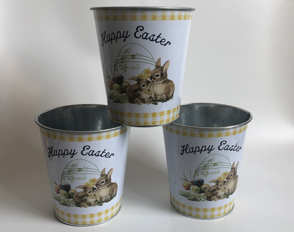 Image 2 - 10Pcs/Lot Round D12.5xH14CM Iron Planter easter egg pots Happy Easter Tin Boxes flower planter Artifical flower vase SF 095 11-in Flower Pots & Planters from Home & Garden