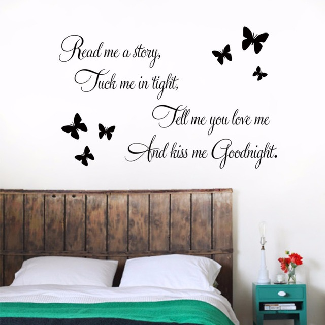 DIY Sentences Kiss Me Goodnight Butterfly Wall Art Home Decor Vinyl ...