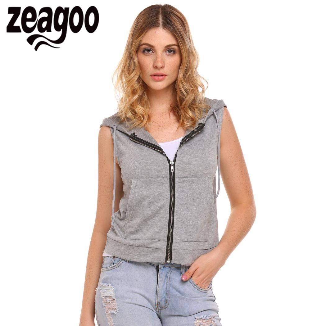 Promo Jaket Rompi Hoodie Sweater Vest Zipper Polos Premium Katun Viva Pensil Alis Htm 13gr Zeagoo 2018 Wanita Pendek Bertudung Tak Berlengan