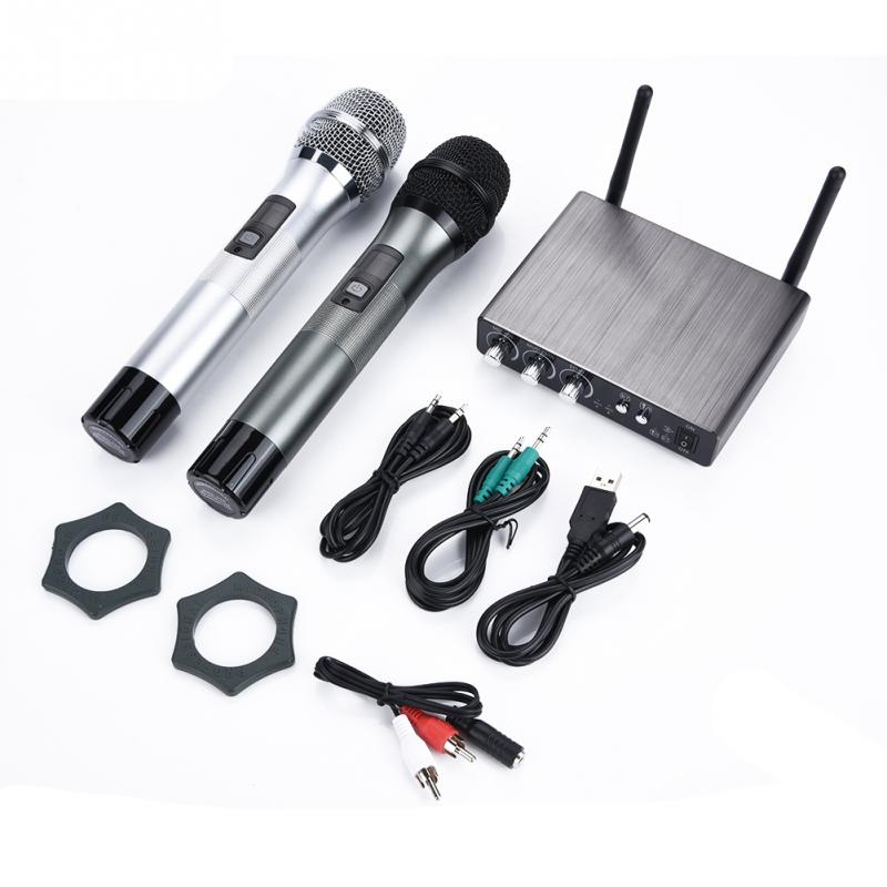 Dual Wireless Bluetooth Karaoke Handheld Microphone Various Frequency with Receiver Box High Quality Handheld Microphone