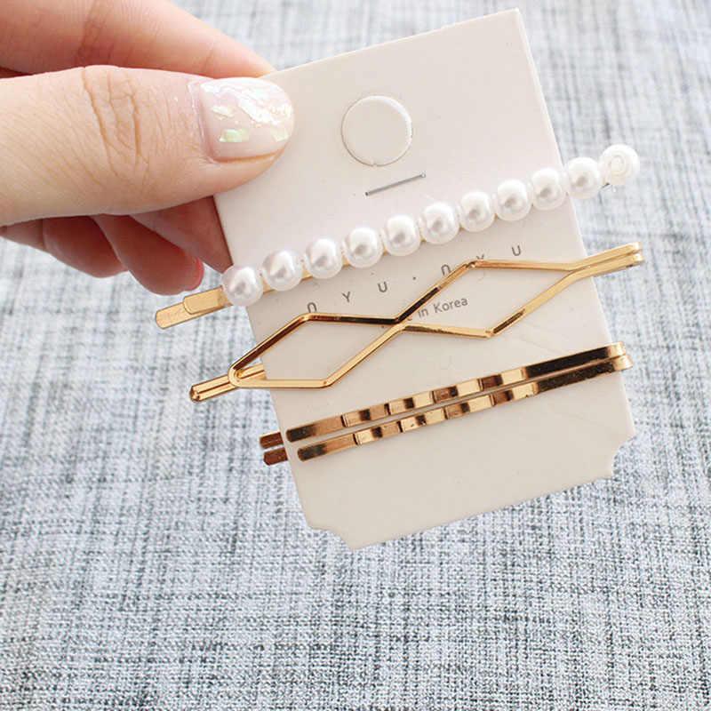 3 unids/set minimalista perla delicada marquesina triángulo rombo infinito oro geométrico horquilla pinza para el pelo abrazaderas accesorios D2735