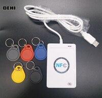 30pcs ACR122U NFC Reader Writer USB 13 56mhz RFID Smart Card Copier Duplicator 5pcs UID Keyfobs