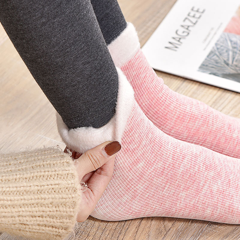 Socks Winter Warm Women Colored Cotton Plus Velvet Thickening Socks Breathable And Sweat-absorbing Fashion Mid Sock
