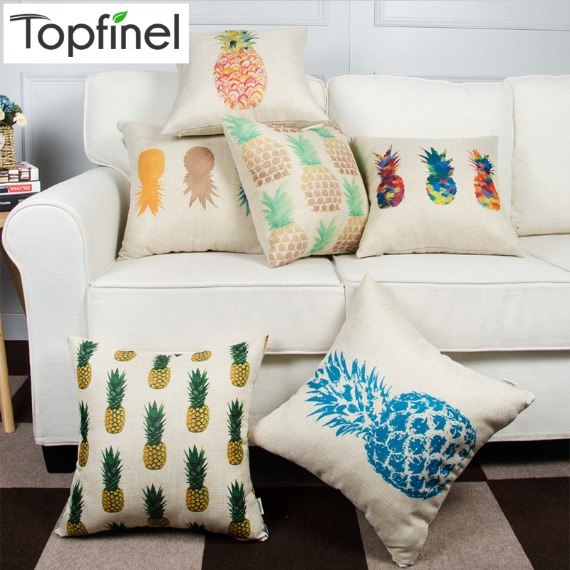 Topfinel Pineapple Pattern Design Cotton linen Decorative Throw Pillow Cases Cushion Cover for Sofa Couch Armchair Seat 45x45cm