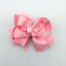 все цены на 5 Inches Hair Bows 3 Layer Solid Ribbon Bows Hair Clips Headbands Girls Headwear Cute Hairpins Kids Pink Hair Accessories онлайн