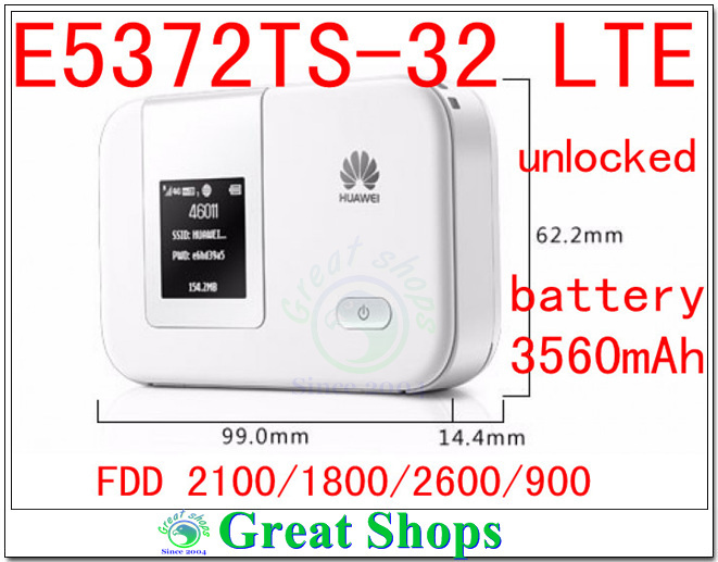 Unlocked Huawei E5372Ts-32 mifi Cat4 4G LTE wifi router 4g 3g lte E5372 3560mha battery 4g mifi dongle PK E589 E5377 e5776 unlocked 4g lte 3g wifi router wireless hotsport moblie dongle mifi with rj45 port 5200mah power bank pk e5776 e5272 e589