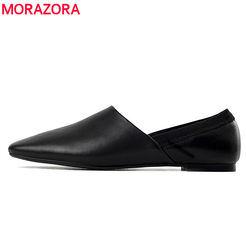MORAZORA 2019 new arrival flat shoes women top quality genuine leather summer shoes shallow solid colors