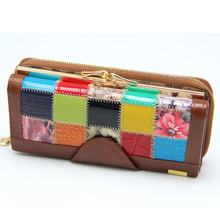 Brand High-grade Split Leather Women Wallets Patchwork Hasp Coin Purse Female Clutch Bag 3 Fold Lady Card Holders