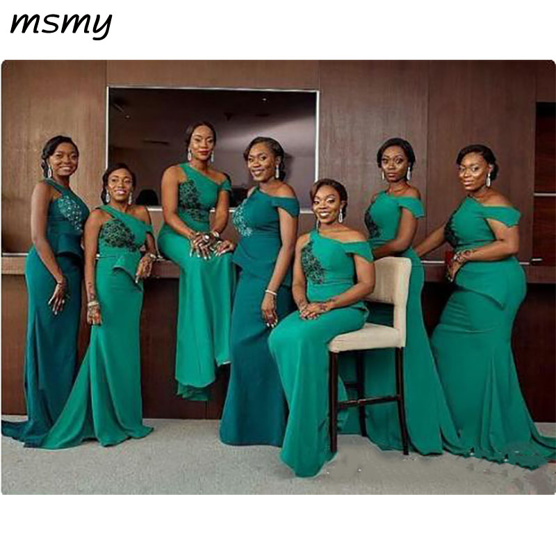 Green Bridemaid Dresses Mermaid One Shoulder Dresses Bridesmaid Robes Cheap Plus Size Dress Short Sleeve