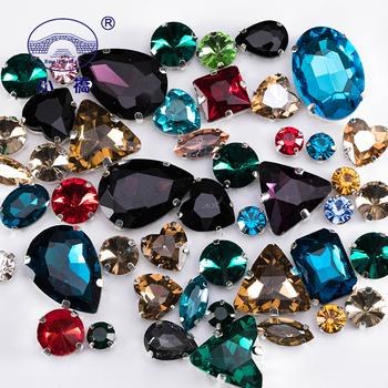 Świecące kryształy szyć na Rhinestone z pazurem Diy kolorowe kamienie sukienka Mix kształt szklane kryształki na odzież 50 sztuk paczka S037 tanie i dobre opinie Small Bridge CN (pochodzenie) Luźne dżetów Cyrkonie Naszywane mix shape flatback Buty Odzieży Torby Crystal Sew On Rhinestone