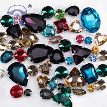 Glitter Crystal Sew On Rhinestone With Claw Diy Colorful Dress Stones Mix Shape Glass Rhinestones For Clothing 50PCS/PACK S037(China)