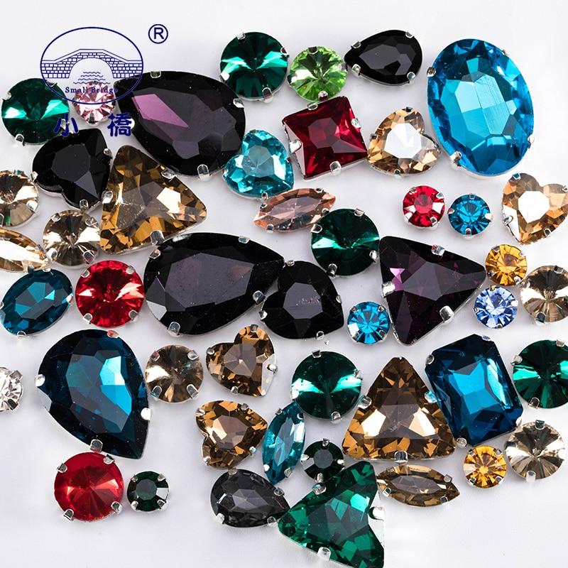 Glitter cristal costurar em strass com garra diy vestido colorido pedras mix forma strass de vidro para a roupa 50 unidades/pacote s037