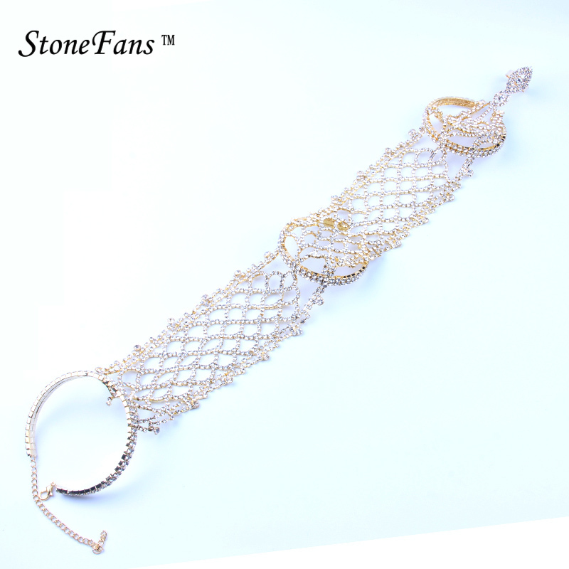 StoneFans Statement Pave Crystal Rhinestone Arm <font><b>Hand</b></font> <font><b>Chain</b></font> Cuff <font><b>Ring</b></font> Copper <font><b>Bracelet</b></font> Wedding Bridal Bangles Belly Dancer Jewelry image