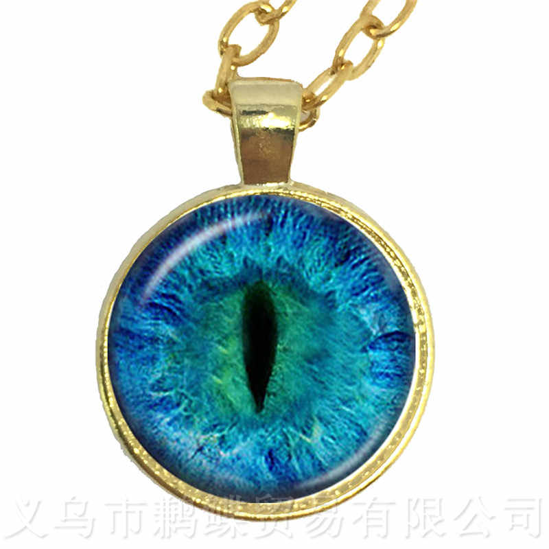 Eye Of Evil รูปแบบสร้อยคอ 25 มม.แก้ว Cabochon ของขวัญคู่สามีภรรยาแฟนแฟนแฟน, ของขวัญครบรอบ Sweaterchain