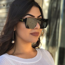 WFEANG Square Luxury Sun Glasses Brand Designer Ladies Oversized Shades Sunglasses Women Frame Mirror For Female