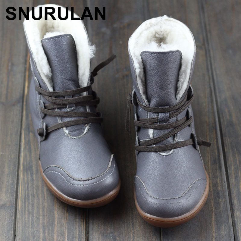 SNURULAN Womens Boots Winter Shoes Wool Genuine Leather Shoes Round toe Lace up Ladies Ankle Boots Female Footwear E123SNURULAN Womens Boots Winter Shoes Wool Genuine Leather Shoes Round toe Lace up Ladies Ankle Boots Female Footwear E123