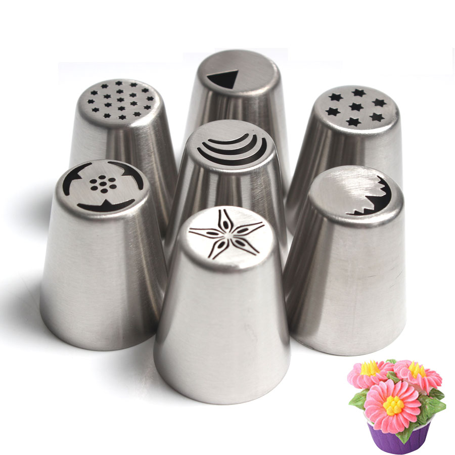 7pcs Russian Nozzles Stainless Steel Cake Cupcake Decoration Wedding Cake Design Butter Cream Flower Decorating Tips Leather Bag
