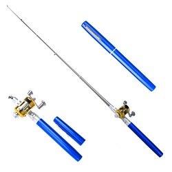Balight Draagbare Pocket Telescopische Mini Hengel Pen Shape Gevouwen Hengels Met Reel Wiel Hengel Pen