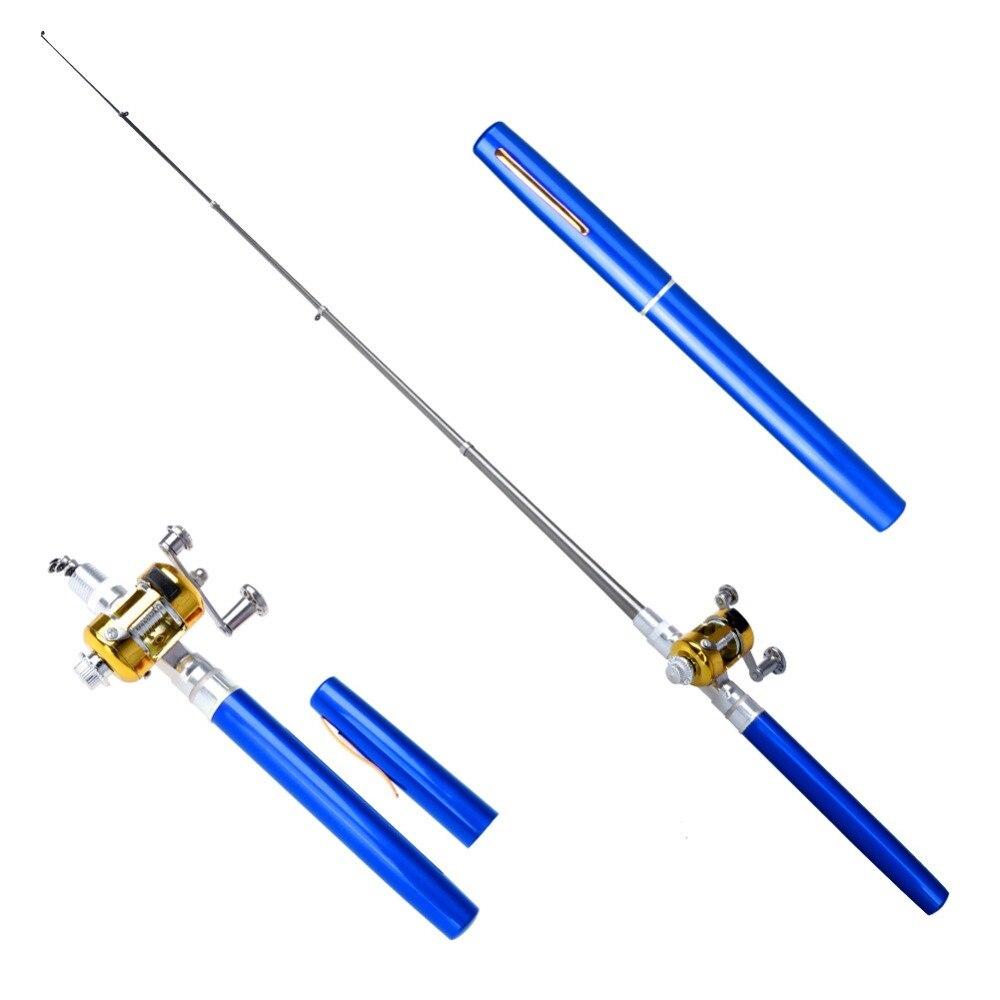 Portátil de bolsillo telescópica Mini caña de pescar la forma de la pluma de plegado de pesca con carrete de pesca pluma