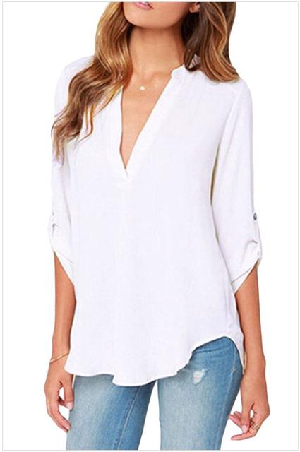 FGirl Encaixe das Mulheres t Top Camisa Colheita V Do Pescoço Solto Chiffon T-shirt para As Mulheres FG30581