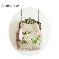 Angelatracy 2018 Embroidery Flower Coin Purse Tassel Pouch Floral Mini Bag Antique Bag Handmade Wallet Women Bag Cherry Blossoms