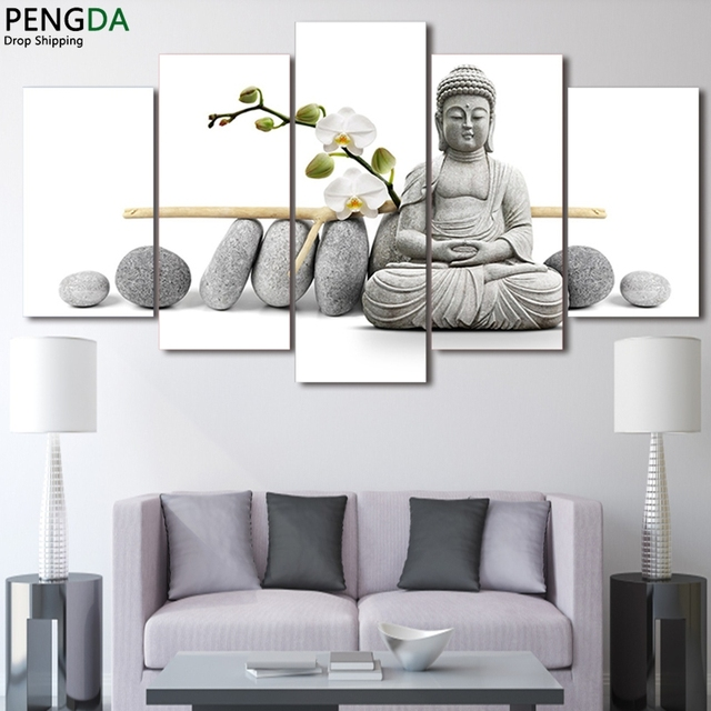 moderne toile peinture bouddhisme art mural cadre home decor photos 5 pi ces zen bouddha avec. Black Bedroom Furniture Sets. Home Design Ideas