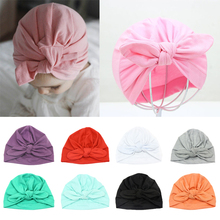Sweet Baby Hat with Knot Cotton Candy Color Beanie Infant Kids Cap for Girls and Boys Turban Photo Props Accessories