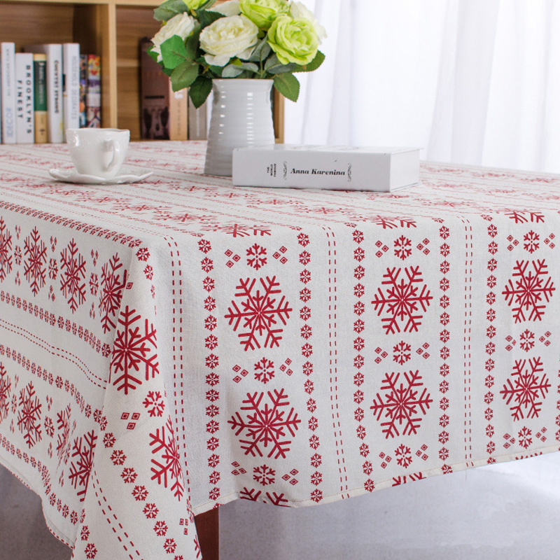 Christmas snowflake design cotton linen tablecloth printed - Manteles para navidad ...