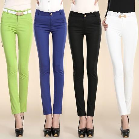 2016 New Women Pencil Pants Pants for Women High Waisted Slim Skinny Formal Panty Trousers Leggings Black,White,Green,Blue