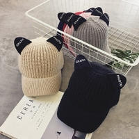 2017 Autumn Winter New Hot Fashion Female Cute Ear Thick Knitting Hats Caps Women Casual Simple Warm Letters Skullies Beanies
