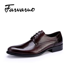 Farvarwo Leather Casual Oxford Business Shoes for Mens Lace-Up Pointed Toe Flats Formal Wedding Dress Shoes Black/Red Men Autumn