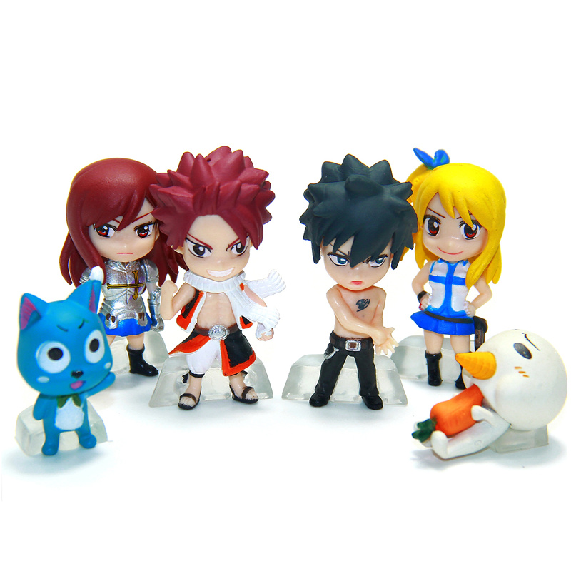 Anime Fairy Tail PVC Figure Model Keychain 6 pcs/set Natsu Happy Lucy Gray Elza Fairy Tail Toy Action Figures Keychain